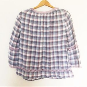 Chico's Tops - Chico's Linen Plaid Wide Sleeve Top Size 2 or L